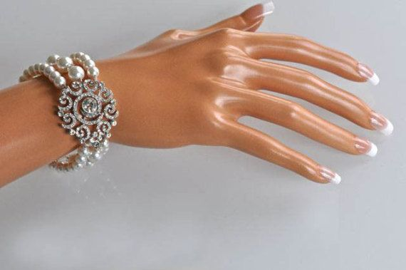 Vintage Inspired Crystal Rhinestone and Pearl 3-Strand