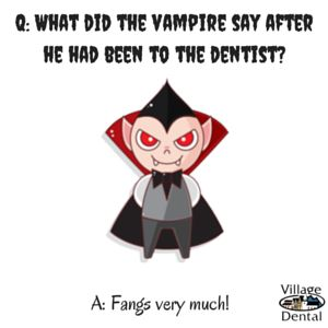 Healthy Teeth Halloween Dental Tip #1 – Dinner Before Candy vampire dental joke
