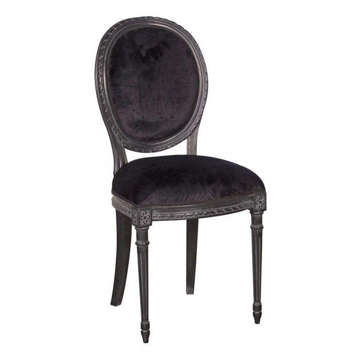 Moulin Noir Shabby Chic Black Painted Velvet Dining Chair