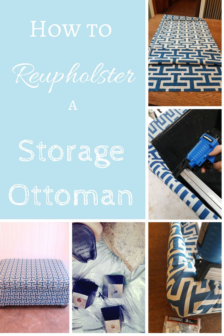 DIY Reupholstered Storage Ottoman. See how I did this easy and cheap DIY toy box makeover fabric and a little spray paint. An easy DIY on a budget!