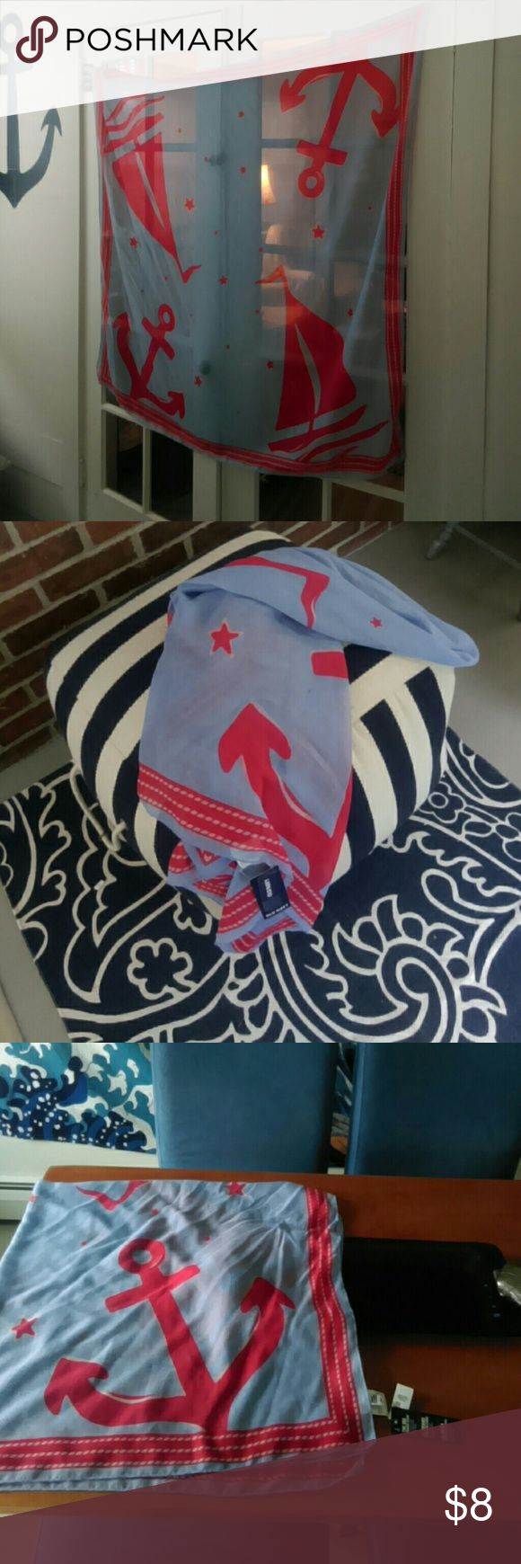 Anchors Away Scarf SEASIDE themed scarf red sailboat, stars and anchors printed on a sea of light blue red rope border! 48in. SQUARE, light weight the Big square scarf, more fabric equals more opportunities for fun styling  NWT......perfect to wear or decorate!. BUNDLES WELCOME, no Trades or Modeling, Reasonable Offers Considered Pet, Perfume Smoke Free Home Old Navy Accessories Scarves & Wraps
