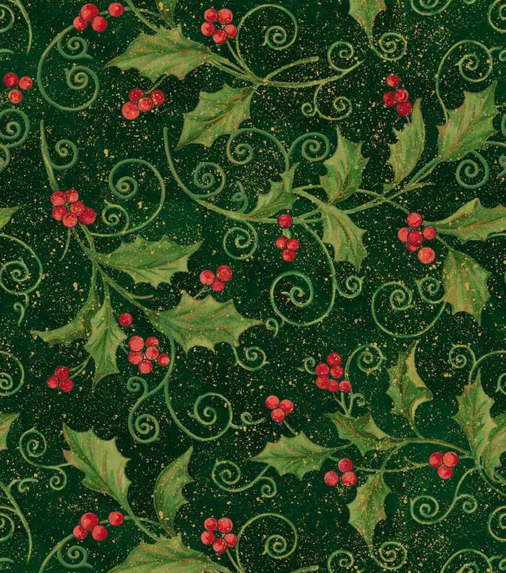 Holiday Inspirations Fabric-Holly Vine ScrollHoliday Inspirations Fabric-Holly Vine Scroll, JOANN