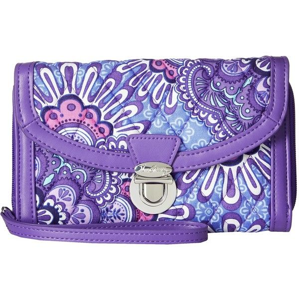 Vera Bradley Ultimate Wristlet (Lilac Tapestry) (6680 ALL) ❤ liked on Polyvore featuring bags, handbags, clutches, wristlet purse, purple handbags, wristlet clutches, purple purse and lilac handbag