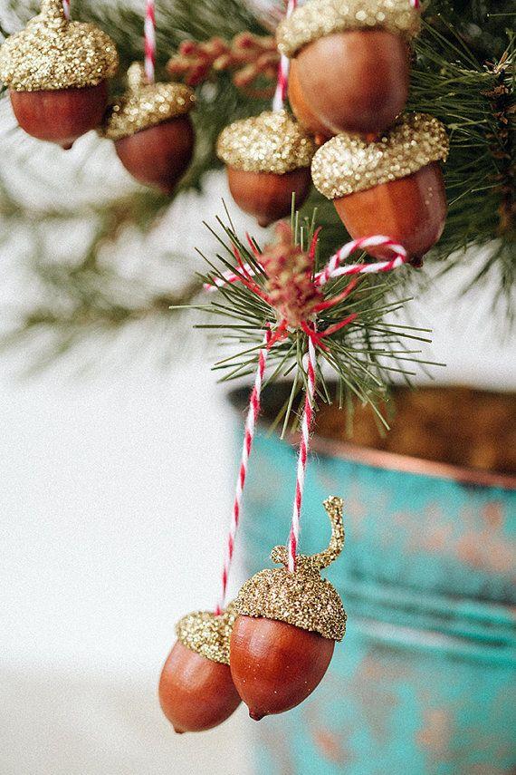 3 sets of golden acorn ornaments
