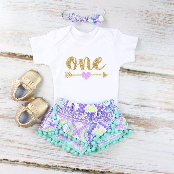 Girls First Birthday Shorts Outfit | Purple Aztec Shorts with Aqua Pom Pom Trim | Gold Arrow w/ Purple Heart