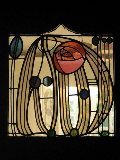 Stained glass windows in music room doors – 'House for an Art Lover', built in 1989, based on a 1900 Charles Rennie Mackintosh & Margaret Macdonald design competition entry.