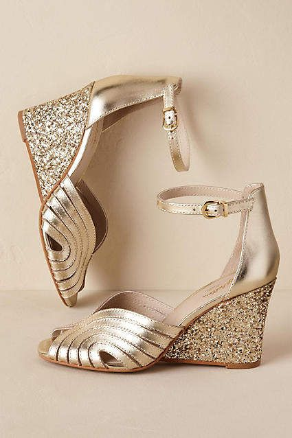 b63a75d81 Anthropologie Bess Gold Wedges  Part of a special collection from BHLDN.  Strappy peep-toe wedges feature a glam glitter heel. These sparkly heels  would make ...