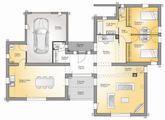 Modèle de maison Bioclima 160 - . Retrouvez tous les types de maison à vendre en France sur Faire Construire Sa Maison