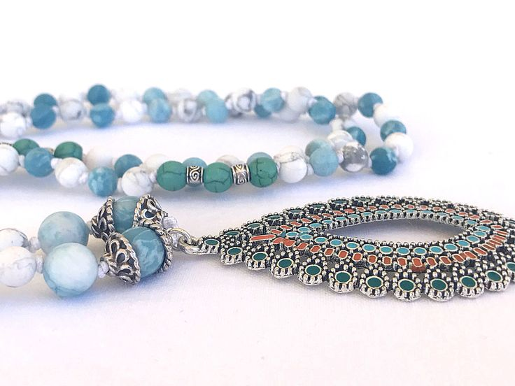 Larimar Mala Necklace, Tribal pendant necklace, Baby Blue Gemstones necklace, White howlite necklace, Boho necklace, Yoga Necklace by Katiaicrafts on Etsy