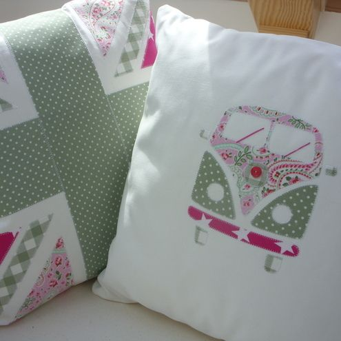 Campervan Cushion Pink & Green