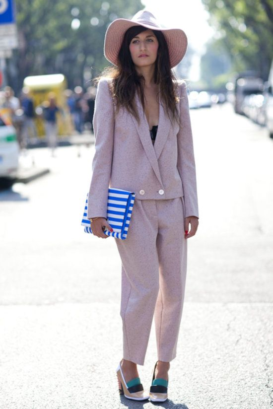Making a case for matchy-matchy in blush suiting and a wide-brimmed hat. #MFW #StreetStyle