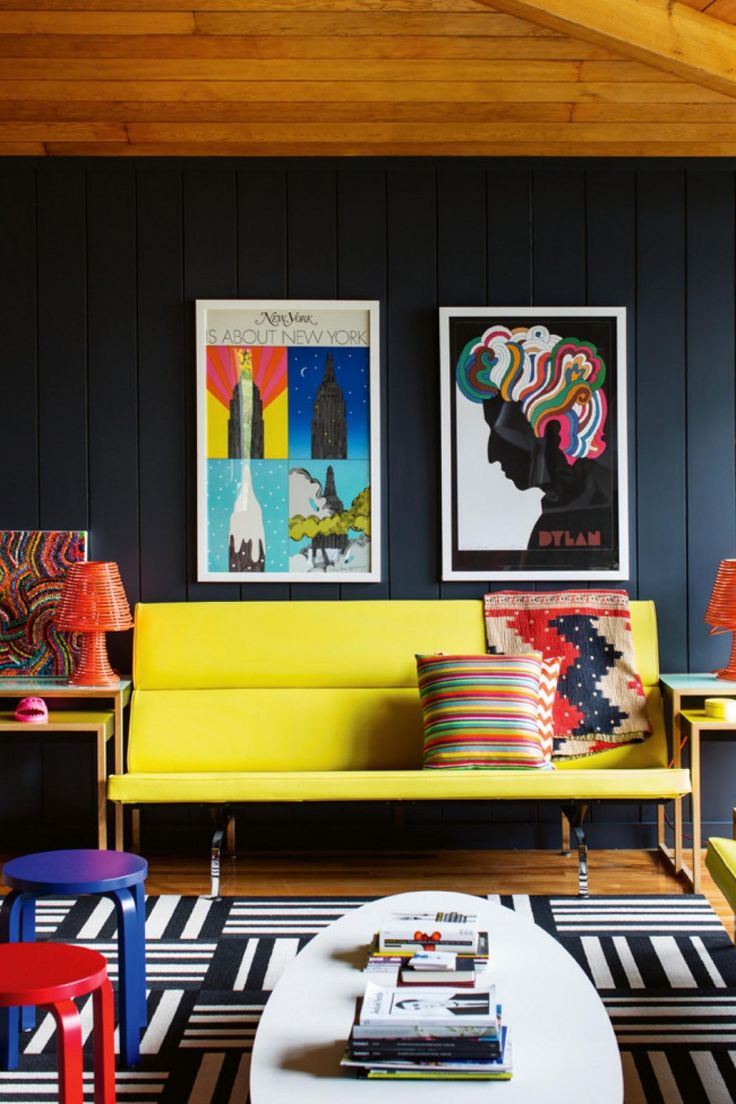 Apartment, Yellow Long Chair Blue Wood Wall Two Creative Art Paper Paints Orange Plastic Table Lamps Black And White Pattern Rug Oval White Coffee Table Light Wood End Tables Red And Blue Bar Stools: Captivating Colorful Apartment Design Ideas