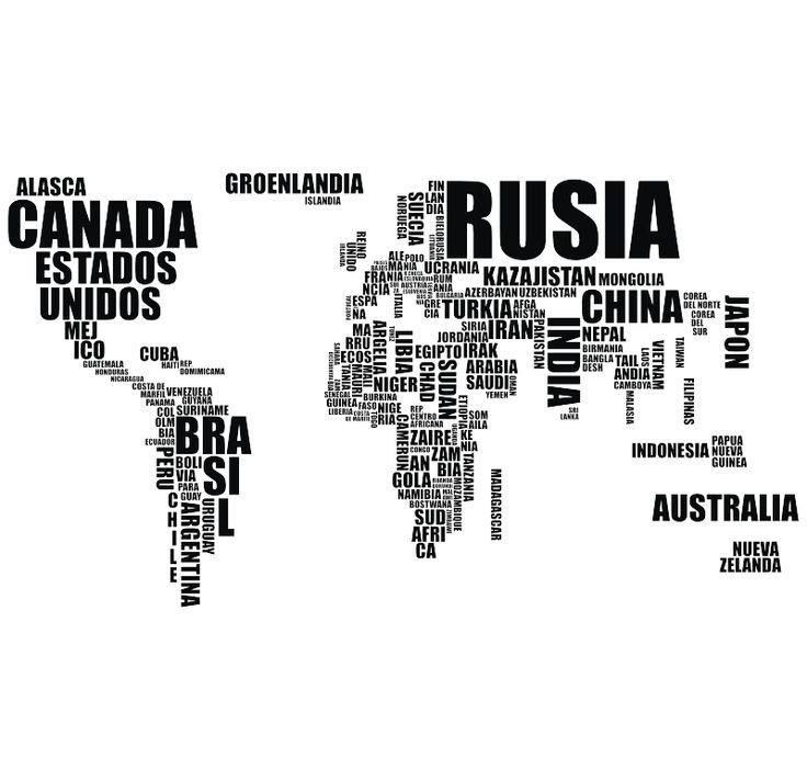 Mapamundi Los paises del mundo, vinilos decorativos
