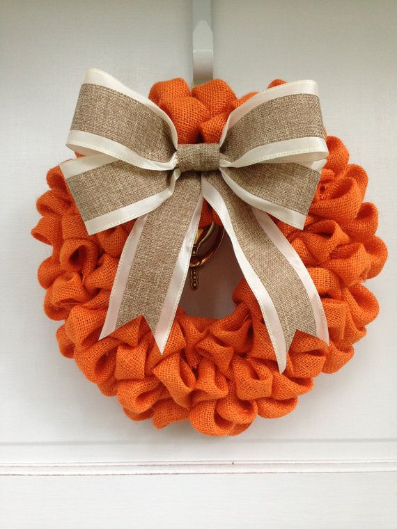 Orange Burlap Wreath with Burlap Bow, Thanksgiving Decor, Autumn Decoration, Harvest Colors, Elegant Door Decor on Etsy, $45.00