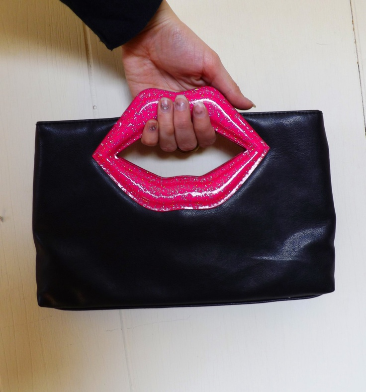 Vintage 80s 90s Glittery Lips Clutch Purse Handbag Looks Like Betsey Johnson. $13.00, via Etsy.