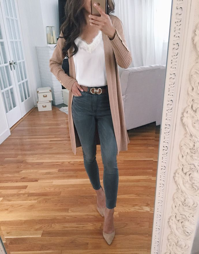 casual fall style // long camel brown duster cardigan sweater + gray skinny jeans outfit