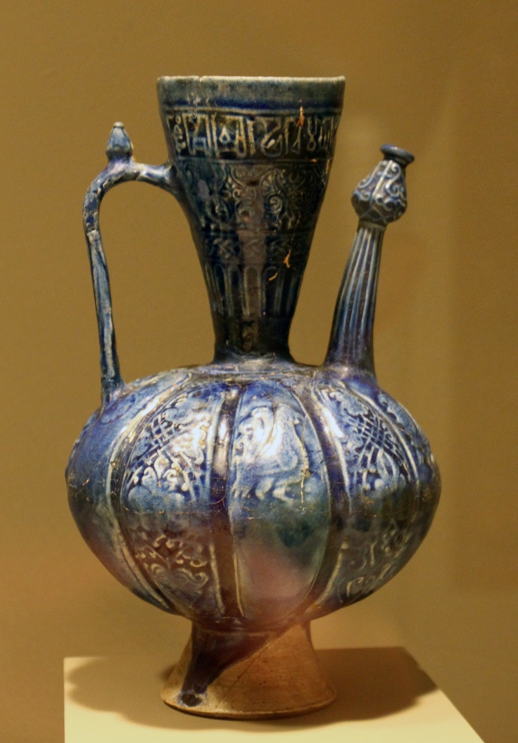 Persia, Seljuk period, 12th century, Earthenware ewer with molded decor under lapis-blue glaze. Minneapolis Institute of Arts