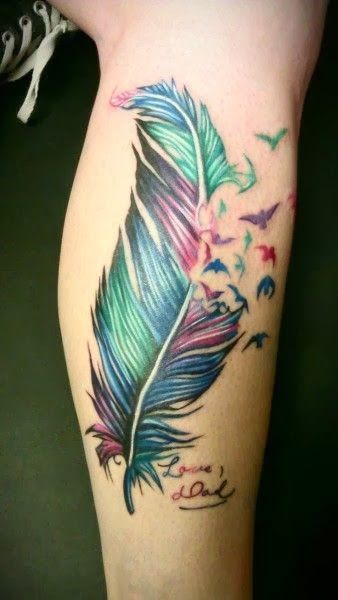 Psychedelic Feather tattoo. -