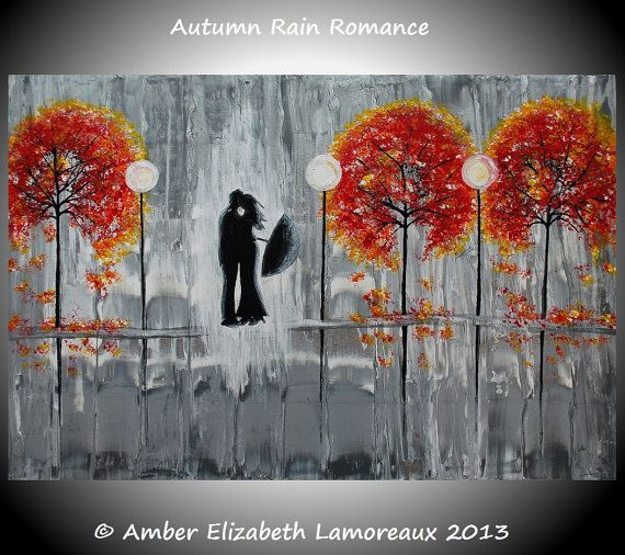 "8"" x 10"" Fine Art Giclee Print of Original Painting Autumn Rain Romance Amber Elizabeth Lamoreaux Fall Silhouette Couple Rainy Street Love"