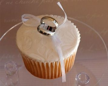 These were sample cupcakes made for a Wedding in October 2009.  It is a simple White Chocolate Mud cake with rosewater buttercream. Topped with embossed fondant and toppers.