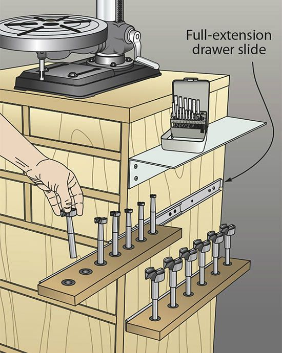 storage option for drill press stand, I'd do it behind a hinged drawer to keep little fingers & pets away but great idea
