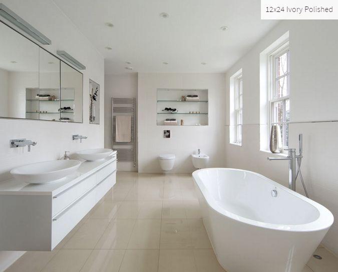 Ivory 12x24 Polished Room Inspiration #ivory #roominspiration #bathroominspiration #homeinspiration #tile #faberstoneandtile