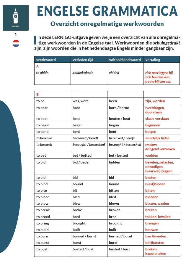 Engelse grammatica - Onregelmatige werkwoorden / Categorie: #Engels / (c) LERNiGO BV