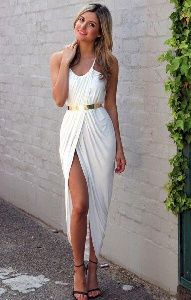 Spaghetti Strap Split White Dress