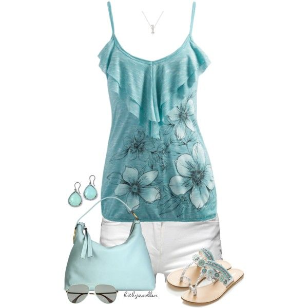 Summer Outfit: Outfits Love, Outfit Summer, Concert Outfits, Flowers Tanks, Cute Spring Outfits, Cute Summer Outfits, Outfits Teal, Outfits Blue, Outfits Sty