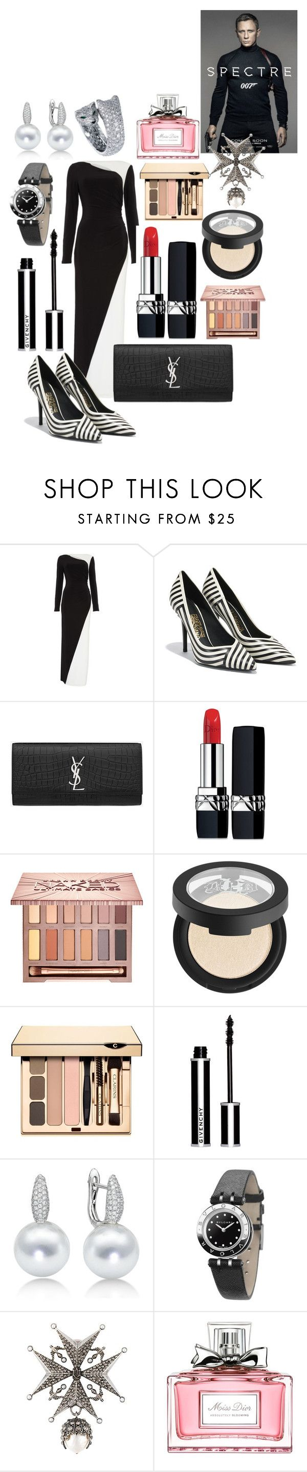 """""""Spectre(2015) Mexico City Premiere Outfit"""" by andreamartin24601 ❤ liked on Polyvore featuring Lauren Ralph Lauren, Salvatore Ferragamo, Yves Saint Laurent, Christian Dior, Urban Decay, Kat Von D, Clarins, Givenchy, Bulgari and Alexander McQueen"""