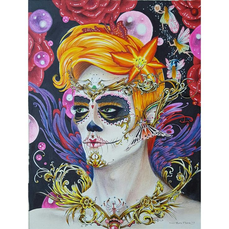 """Memories of you"" original art Ruth Park  Dia de los Muertos sugar skull. Ink, copic markers and polychromos on A4 paper. Fantasy art lowbrow.  www.ruthparkart.com"