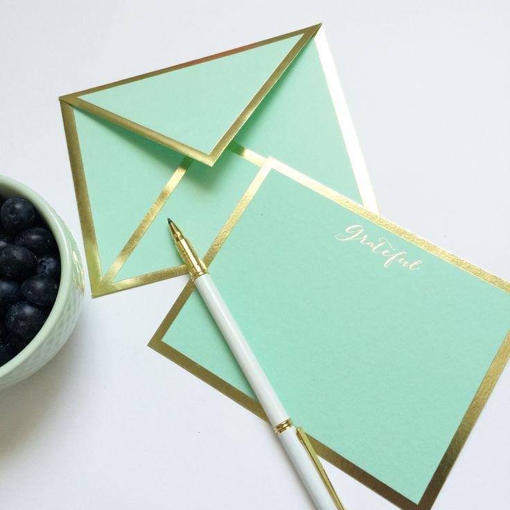 Grateful Mint Green Card & Envelope