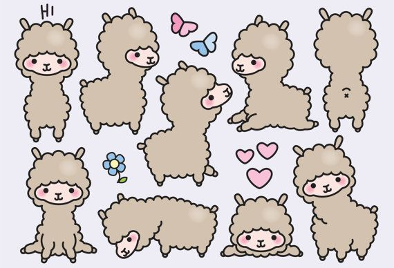 Premium Vector Clipart Kawaii Llamas Cute by LookLookPrettyPaper