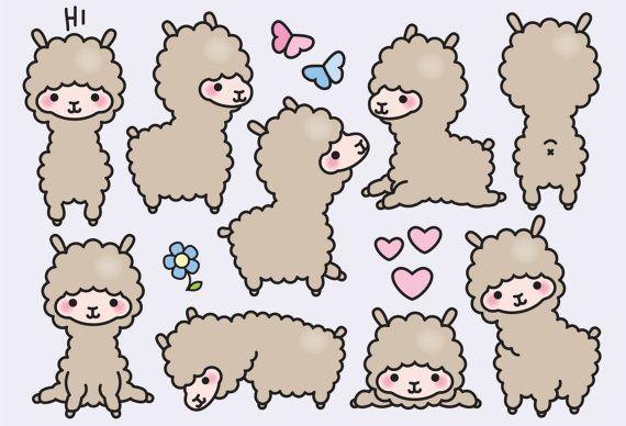 Premium Vector Clipart – Kawaii Llamas – Cute Llama Clipart Set – High Quality Vectors – Instant Download – Kawaii Clipart – Stern