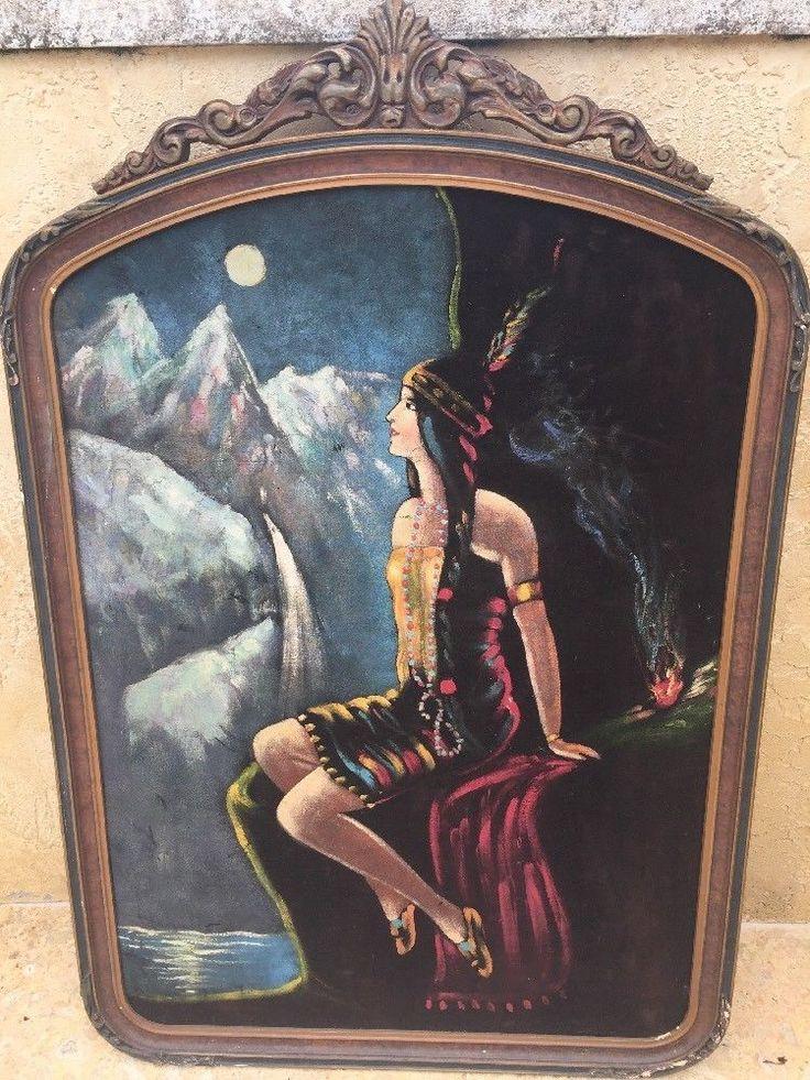 Antique indian maiden painted on velvet original frame