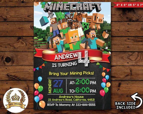 Minecraft Invitation Minecraft Invite by EpicInviteDesigns on Etsy