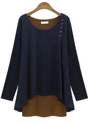 Charming Long Sleeve Round Neck Autumn T Shirt - USD $23.92
