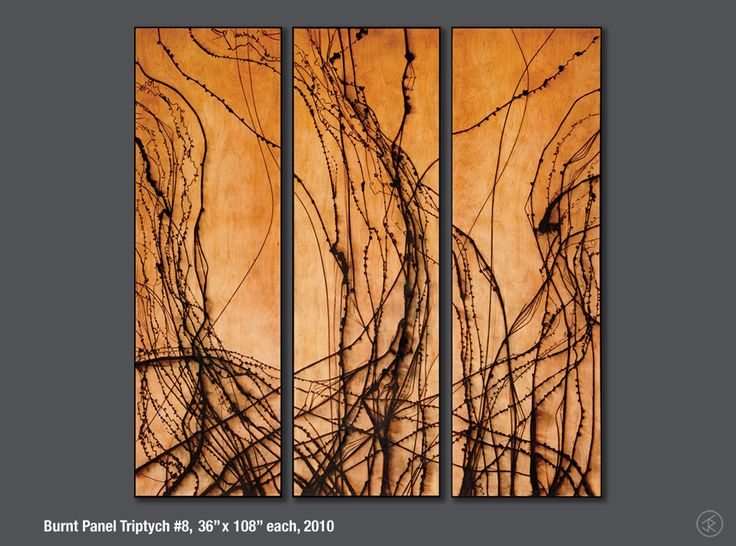 Fine art created where molten hot glass is used to burn abstract lines into wood by artist Jonah Ward.