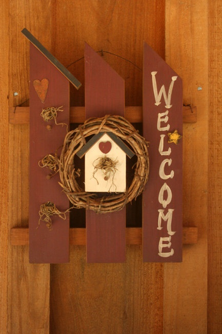 Picket Fence Welcome by PlumsPaperPlays on Etsy, $19.00