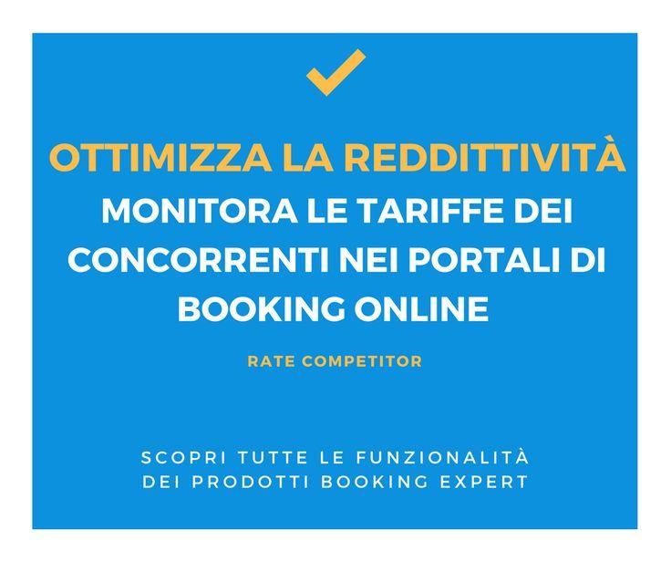 Il #RateCompetitor è uno strumento facile ed intuitivo che consente a tutte le strutture ricettive che utilizzano portali di prenotazione online, di monitorare le tariffe e le soluzioni proposte da Hotel concorrenti selezionati, in maniera rapida, coerente ed efficace! http://www.bookingexpert.it/ratecompetitor.html