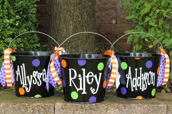 Personalized 5 Quart  Halloween Bucket - Many colors and designs available on Etsy, $22.00