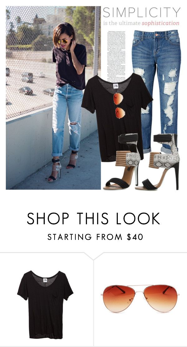 """""""Blogger style: Black T-shirt & Destructed Skinny Jeans & Heels"""" by hamaly ❤ liked on Polyvore featuring By eLUXE, Mlle Mademoiselle and Gemvara"""