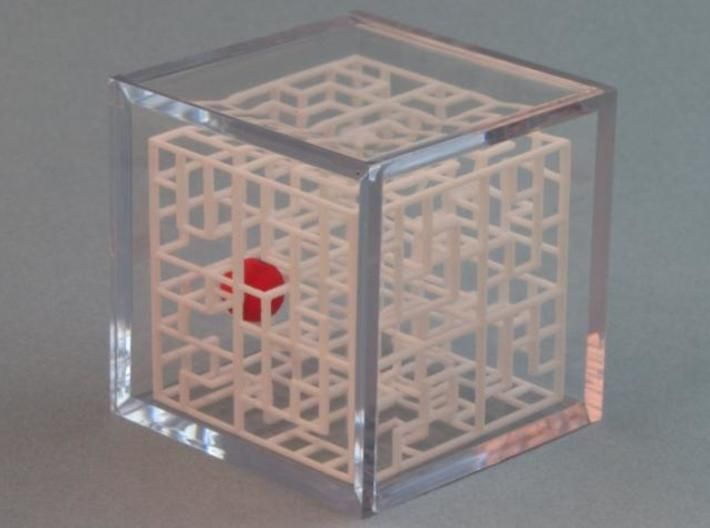 Escher's Playground 3D Maze Cube 3d printed In Display Case - Sold Separately