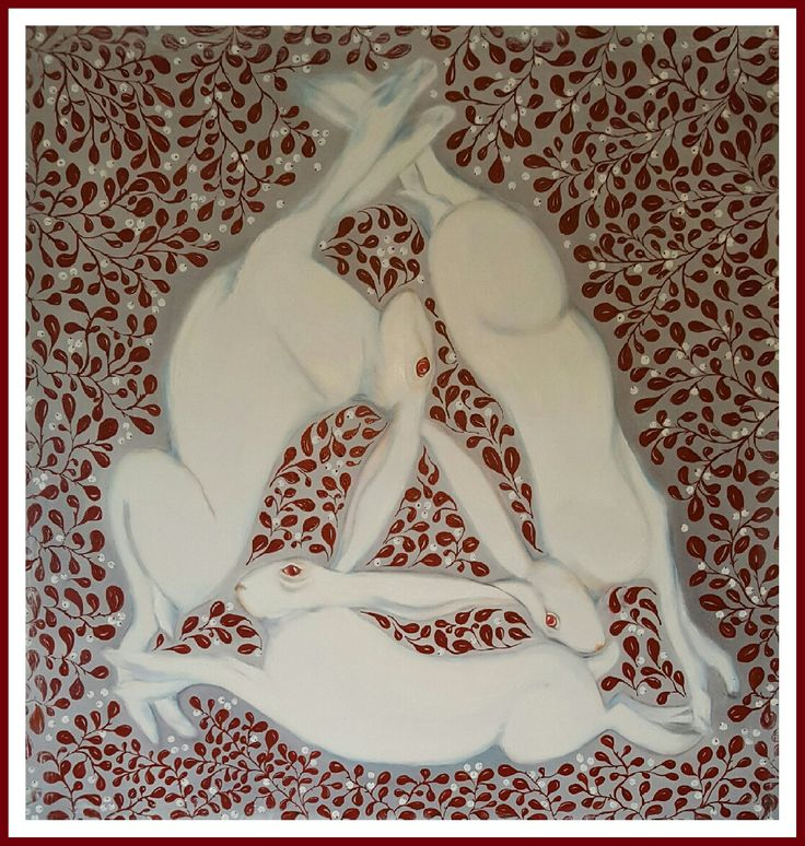 Three hares Oilpainting  100 x 100 cm by Charlotte Wiktorsdotter