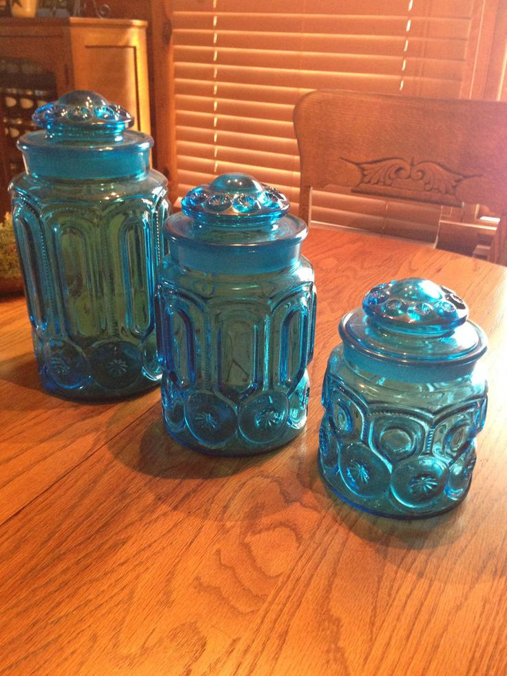 Set of 3 vintage l e smith colonial blue moon stars glass canister set w lids glass cobalt - Blue glass kitchen canisters ...