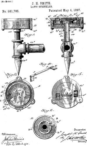 J.W. Smith patents Lawn sprinkler May 4, 1897 Smith, J. W