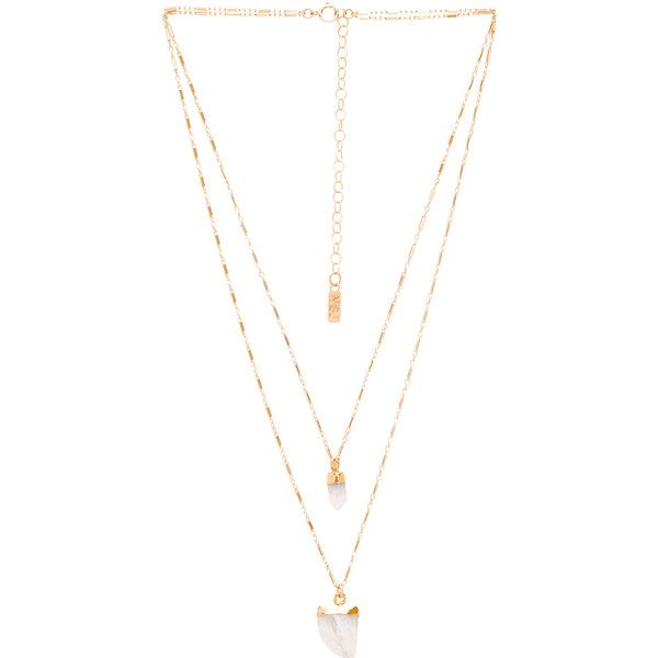 Natalie B Jewelry Moonstone Pendant Double Layer Necklace found on Polyvore featuring jewelry, necklaces, accessories, acc, moonstone pendant, 14k necklace, gold filled jewelry, moonstone pendant necklace and layered necklace