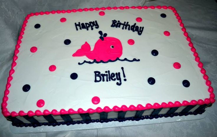 Hot pink and navy blue whale first birthday sheet cake.