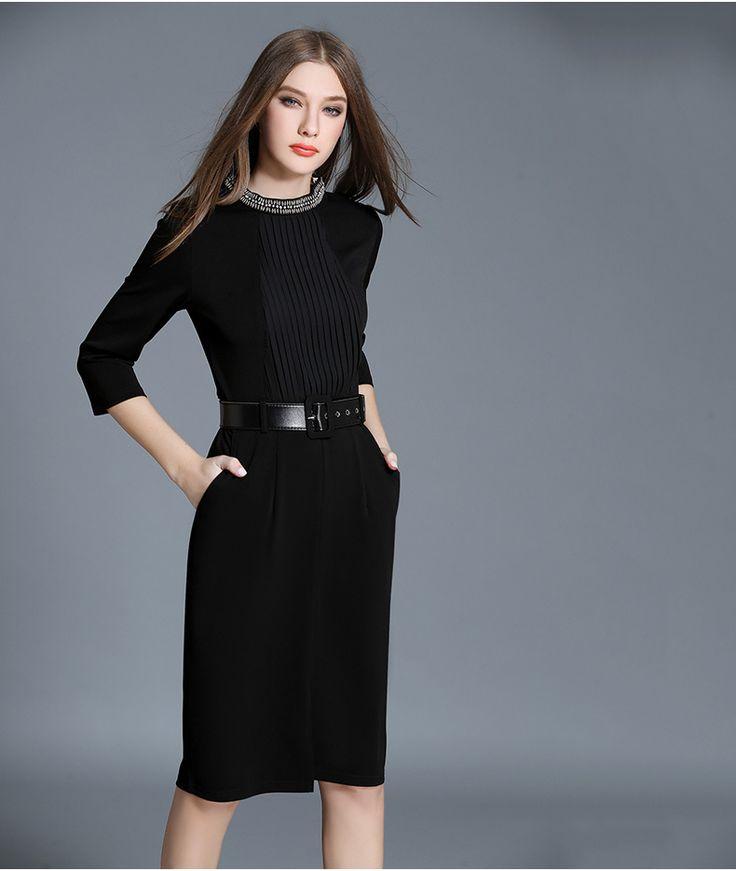 Черное кружевное платье до колена с рукавом