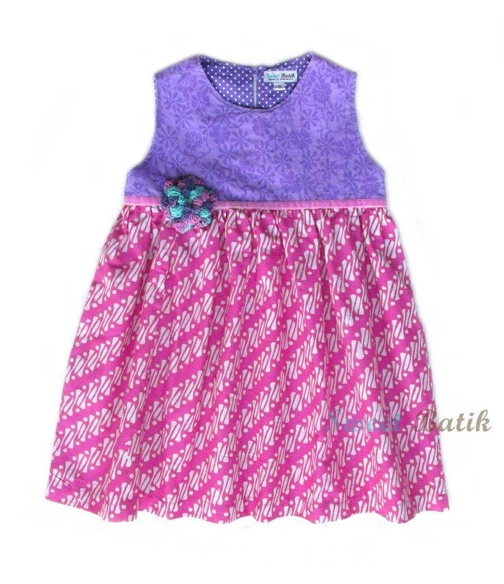 A combination of hand-stamped Batik & Embossed Batik from Sweet Batik #Batik #Indonesia #Handmade #Kids_Clothes #Girl_Dress